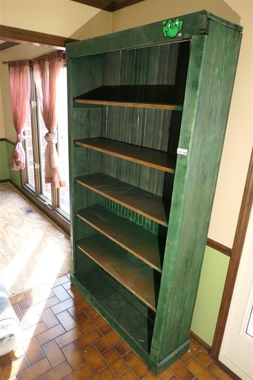 Large Antique Green Shelf Unit