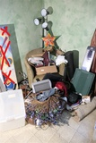 Group Lot of misc household, craft items, plastic tote