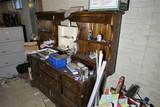Large Old Wooden Dresser w/Shelves + Contents