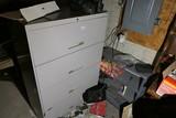 Large metal file cabinet + Metal shelf