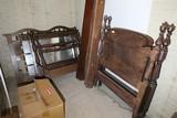2 19th c. Beds w/Rails Plus 70s bed pieces