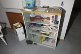 Display case shelf with sliding glass doors