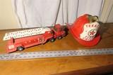 Buddy L toy Fire Truck + Texaco Fire Chief Helmet