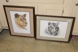 2 Vintage Signed Prints - Lion, Tiger