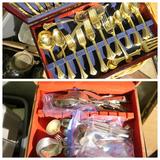 Gold flatware set, misc set + hamper