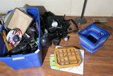 Assorted Items including electronics, shoes, display case w/Wades etc