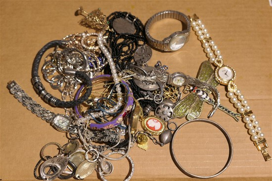 Group Lot Misc. Costume Jewelry, watches