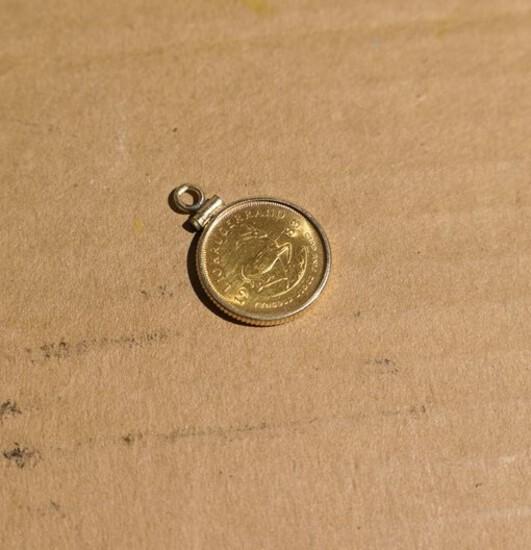 Gold 1/10 Krugerrand Coin in gold bezel
