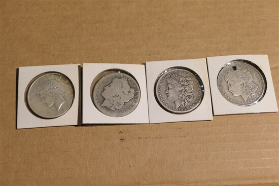 Group lot of 4 Silver Dollars - Morgan & Peace Coins