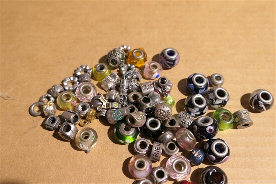 Group Lot of Assorted Pandora Style Beads