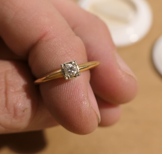 .20 ct diamond and 14k gold engagement ring - Antique