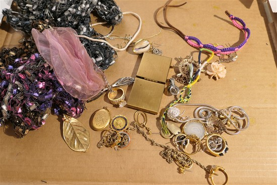 Group Lot assorted costume jewelry, rings etc