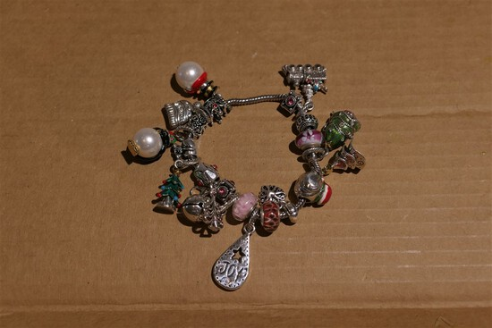 Bracelet with Pandora-style Beads Including holiday, sterling silver