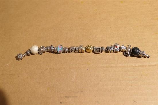 Pandora Bead Bracelet many marked sterling