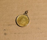 Gold Chinese Coin in Gold Bezel