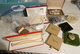 Tote lot of assorted jewelry, Pocket Watch
