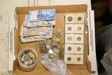 Large lot foreign coins, paper money