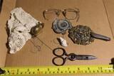 Lot assorted antique smalls, scissors, badge etc