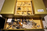 Jewelry box & contents - Gold, silver, etc
