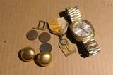 Bucherer Watch w/AEP Band, coins, earrings