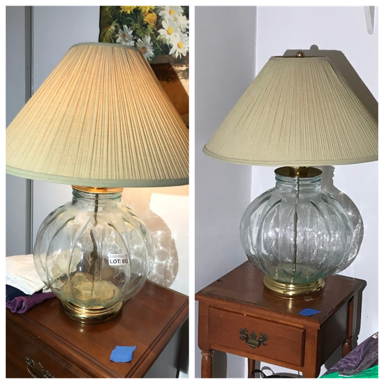 Pair of vintage lamps with glass bases