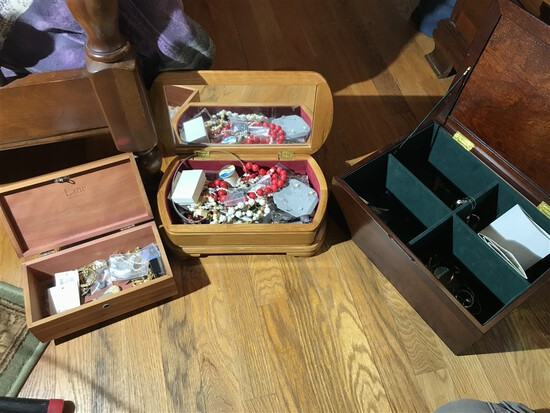 Three jewelry boxes and contents