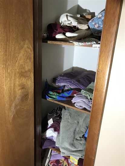 Contents of hall closet, towels, medical