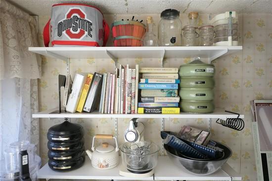Contents of shelves lot including Sunbeam mixer