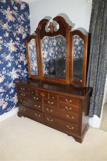 Vintage Cherry Dresser with mirror by Vaughan Bassett