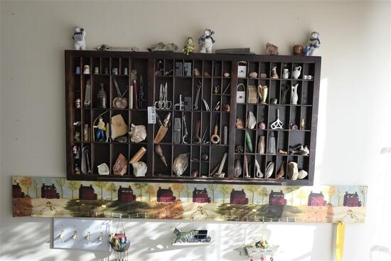 Printer cabinet w/antique letter blocks, smalls etc