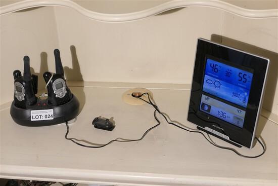 Pair of walkie talkies + weather station