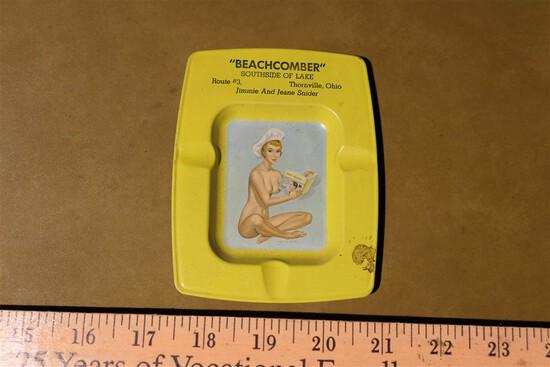 "Rare nudie 50s ashtray ""Beachcomber"" Restaurant Thornville"