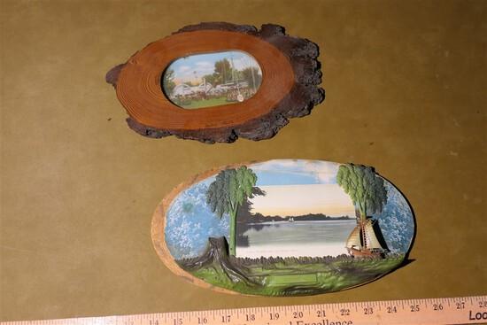 2 Buckeye Lake Souvenir picture or postcard holders