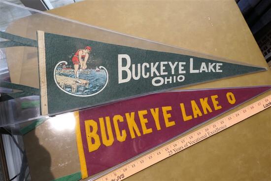 2 Antique Buckeye Lake Ohio Pennants