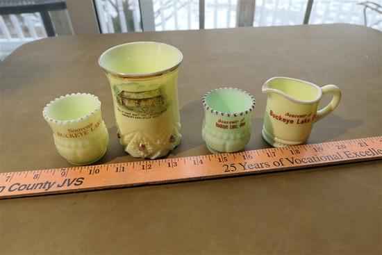 4 Antique Buckeye Lake toothpick holders EAPG Green Milk Glass
