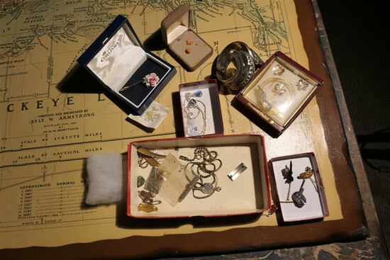 Group Lot costume jewelry, military pins