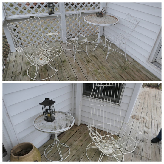 Group Lot Mid Century Homecrest Wire Patio Chairs, table