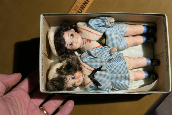 Pair antique Porcelain Dolls in Small Size
