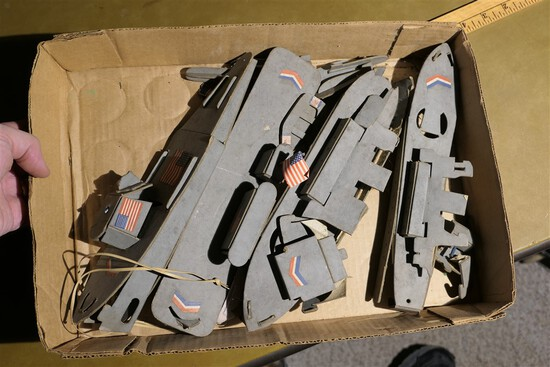 Group lot WWII Era Cardboard or Paper Toy Ships