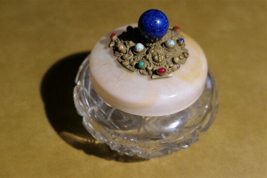 Antique dress box with jeweled lid