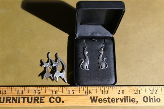 Pair of sterling silver cat earrings