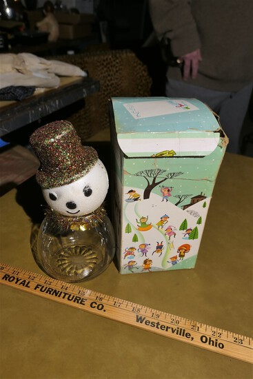 Vintage Snowman Candy Container in Box