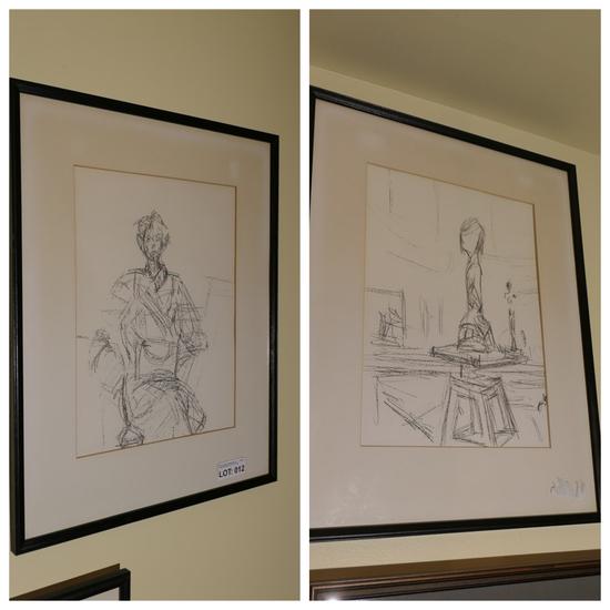 Pair of Original Lithograph Prints by Alberto Giacometti