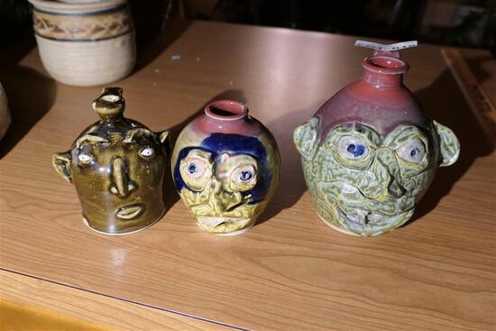 3 Vintage Artisan Made Face Stoneware Jugs