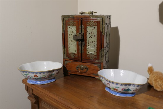 Chinese Wood, Jade Jewelry Box, Plus 2 Bowls