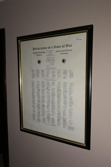 Rare 1917 WWI Framed Declaration of War