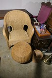 Wicker Chair, footstool, basket