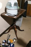 Wooden pedestal table with bevelled top