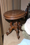 Victorian Round Parlor Table w/Wooden Top