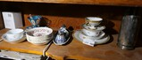 Shelf lot ceramics, Delft, silver plate and more.